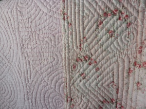 Pretty floral fabric in this whole cloth quilt