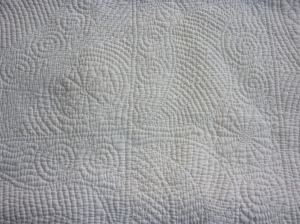 Beautiful Quilting on Wholecloth Welsh quilt