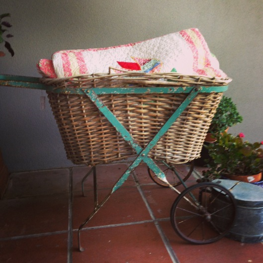 Vintage laundry trolley and basket