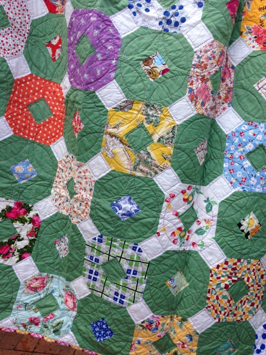 Reproduction Green, pieced with contemporary, vintage and reproduction fabrics.
