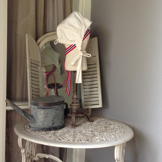 Beautiful old French monogrammed bonnet