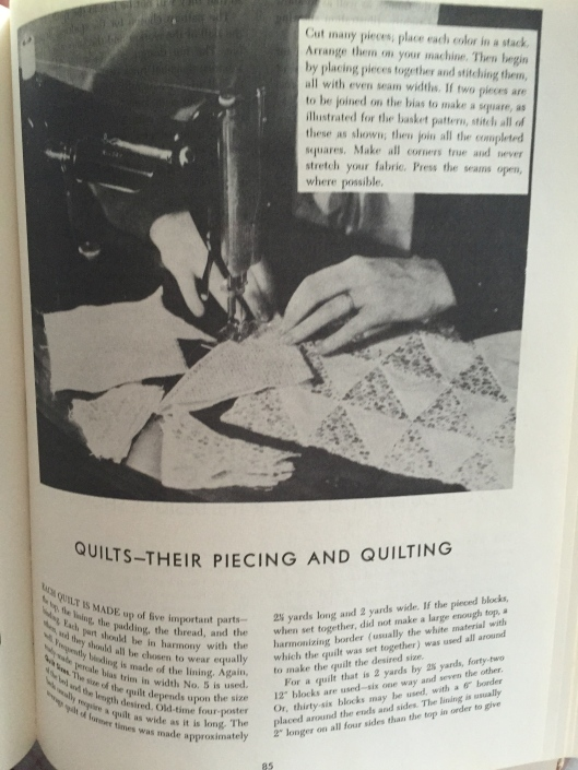 Quilts - their piecing and quilting.  Very limited instructions provided but obviously enough for the experienced needlewoman.